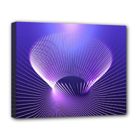 Abstract Fractal 3d Purple Artistic Pattern Line Deluxe Canvas 20  X 16