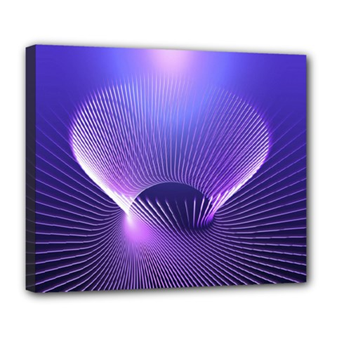 Abstract Fractal 3d Purple Artistic Pattern Line Deluxe Canvas 24  x 20
