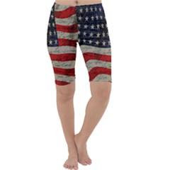 Vintage American flag Cropped Leggings