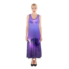 Abstract Fractal 3d Purple Artistic Pattern Line Sleeveless Maxi Dress
