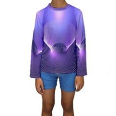 Abstract Fractal 3d Purple Artistic Pattern Line Kids  Long Sleeve Swimwear