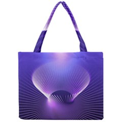 Abstract Fractal 3d Purple Artistic Pattern Line Mini Tote Bag