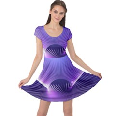 Abstract Fractal 3d Purple Artistic Pattern Line Cap Sleeve Dresses