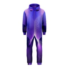 Abstract Fractal 3d Purple Artistic Pattern Line Hooded Jumpsuit (kids)