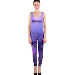 Abstract Fractal 3d Purple Artistic Pattern Line Onepiece Catsuit