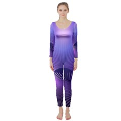 Abstract Fractal 3d Purple Artistic Pattern Line Long Sleeve Catsuit