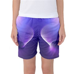 Abstract Fractal 3d Purple Artistic Pattern Line Women s Basketball Shorts