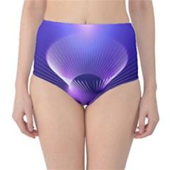 Abstract Fractal 3d Purple Artistic Pattern Line High-Waist Bikini Bottoms