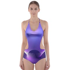 Abstract Fractal 3d Purple Artistic Pattern Line Cut-Out One Piece Swimsuit