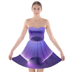 Abstract Fractal 3d Purple Artistic Pattern Line Strapless Bra Top Dress
