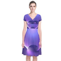 Abstract Fractal 3d Purple Artistic Pattern Line Short Sleeve Front Wrap Dress