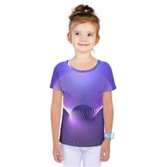 Abstract Fractal 3d Purple Artistic Pattern Line Kids  One Piece Tee