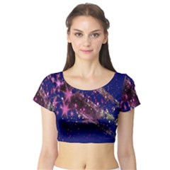 Stars Abstract Shine Spots Lines Short Sleeve Crop Top (Tight Fit)