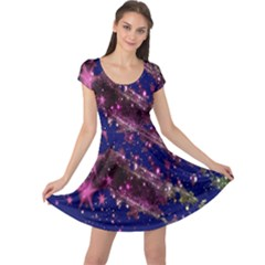 Stars Abstract Shine Spots Lines Cap Sleeve Dresses