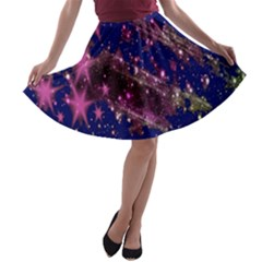 Stars Abstract Shine Spots Lines A-line Skater Skirt
