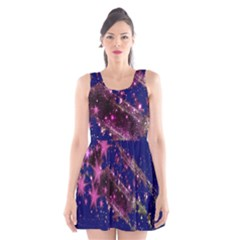 Stars Abstract Shine Spots Lines Scoop Neck Skater Dress