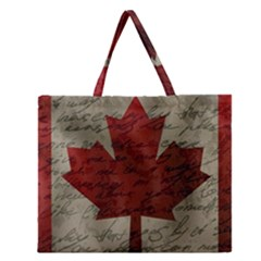 Canada flag Zipper Large Tote Bag