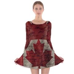 Canada flag Long Sleeve Velvet Skater Dress