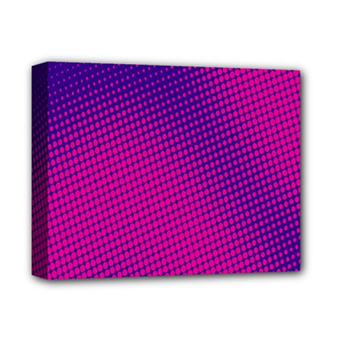 Retro Halftone Pink On Blue Deluxe Canvas 14  x 11