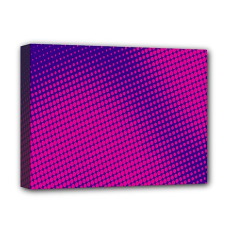 Retro Halftone Pink On Blue Deluxe Canvas 16  x 12