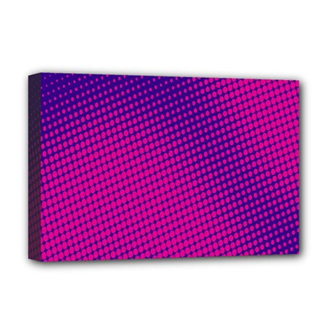Retro Halftone Pink On Blue Deluxe Canvas 18  x 12
