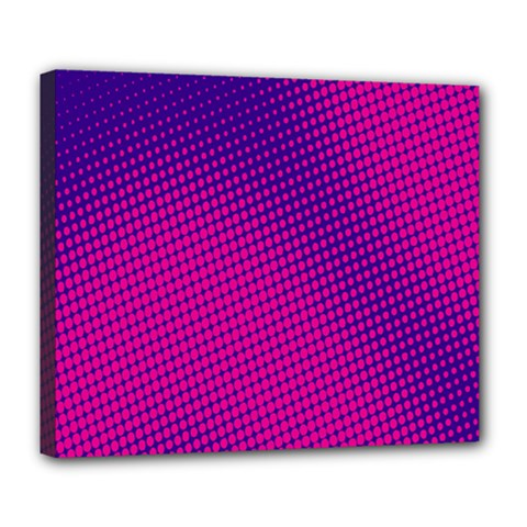 Retro Halftone Pink On Blue Deluxe Canvas 24  X 20