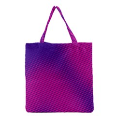 Retro Halftone Pink On Blue Grocery Tote Bag
