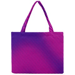 Retro Halftone Pink On Blue Mini Tote Bag