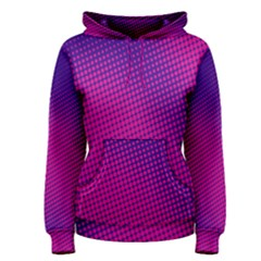 Retro Halftone Pink On Blue Women s Pullover Hoodie
