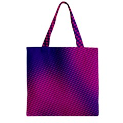 Retro Halftone Pink On Blue Zipper Grocery Tote Bag
