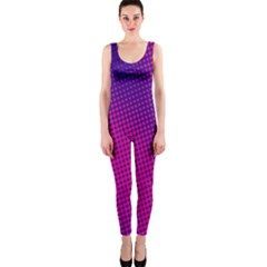 Retro Halftone Pink On Blue OnePiece Catsuit