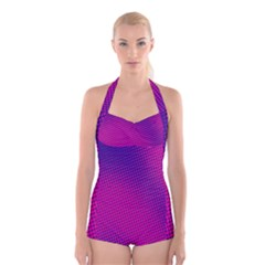Retro Halftone Pink On Blue Boyleg Halter Swimsuit