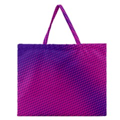 Retro Halftone Pink On Blue Zipper Large Tote Bag