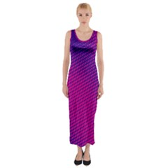 Retro Halftone Pink On Blue Fitted Maxi Dress