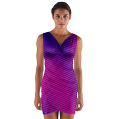 Retro Halftone Pink On Blue Wrap Front Bodycon Dress