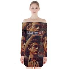 James Dean   Long Sleeve Off Shoulder Dress