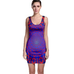 Binary Code Optical Illusion Rotation Sleeveless Bodycon Dress