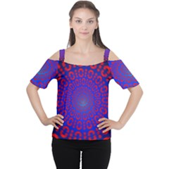 Binary Code Optical Illusion Rotation Women s Cutout Shoulder Tee