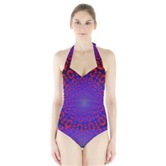 Binary Code Optical Illusion Rotation Halter Swimsuit