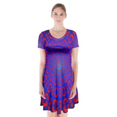 Binary Code Optical Illusion Rotation Short Sleeve V Neck Flare Dress