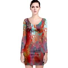Texture Spots Circles Long Sleeve Bodycon Dress