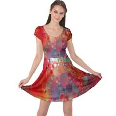 Texture Spots Circles Cap Sleeve Dresses