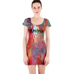 Texture Spots Circles Short Sleeve Bodycon Dress
