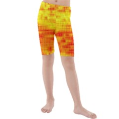 Bright Background Orange Yellow Kids  Mid Length Swim Shorts