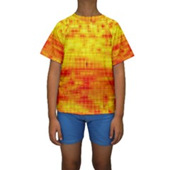 Bright Background Orange Yellow Kids  Short Sleeve Swimwear