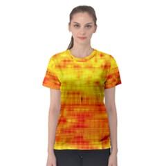 Bright Background Orange Yellow Women s Sport Mesh Tee