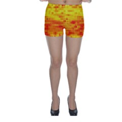 Bright Background Orange Yellow Skinny Shorts