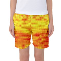 Bright Background Orange Yellow Women s Basketball Shorts
