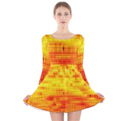 Bright Background Orange Yellow Long Sleeve Velvet Skater Dress
