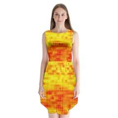 Bright Background Orange Yellow Sleeveless Chiffon Dress